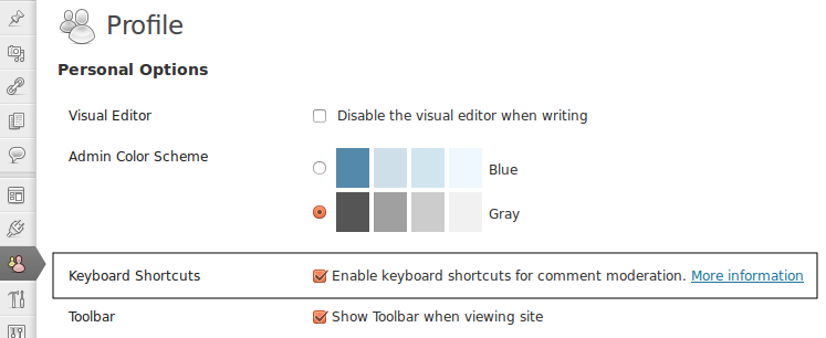 2. Enable comment moderation shortcuts in wordpress