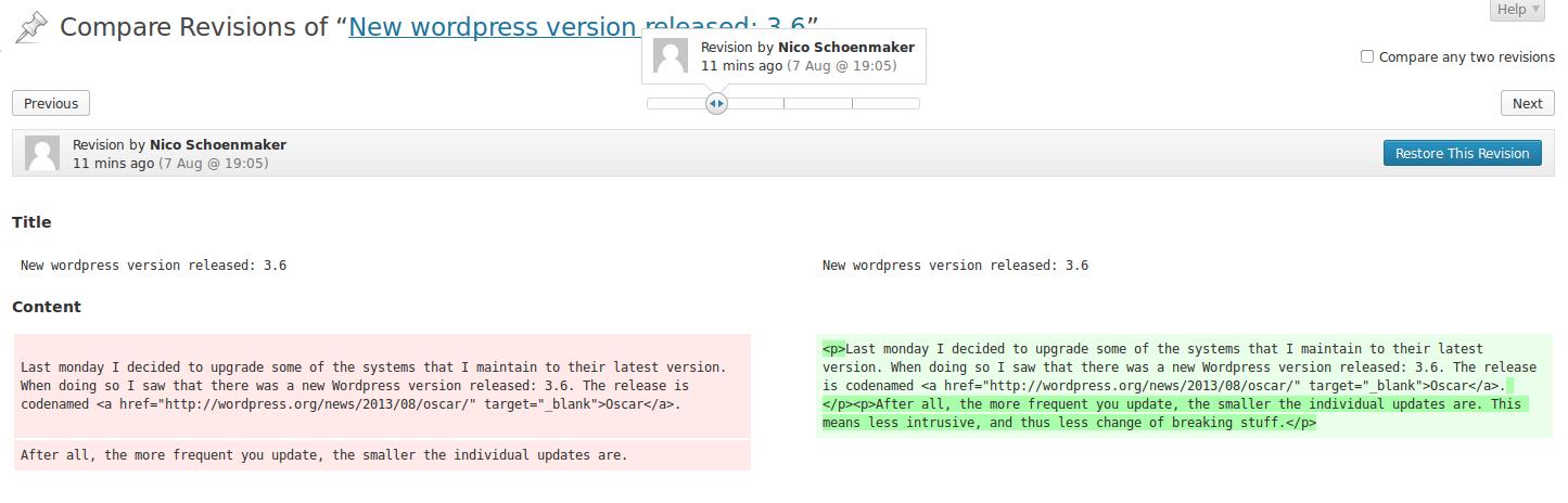 New wordpress version: compare revisions